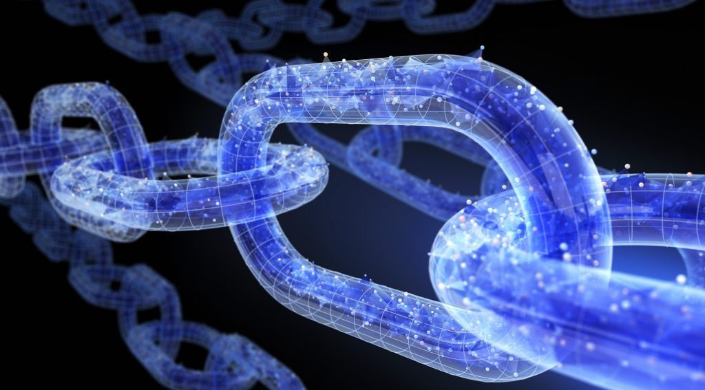 The chain with data. 3D illustration